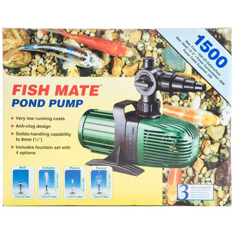 Fish mate fish mate submersible pond pump water pumps for Pond pump placement