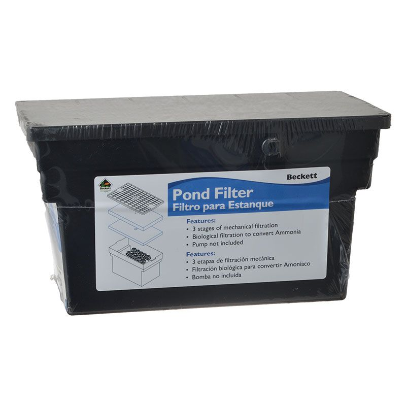 Beckett beckett bio filter box without pump filters for Small pond filter box