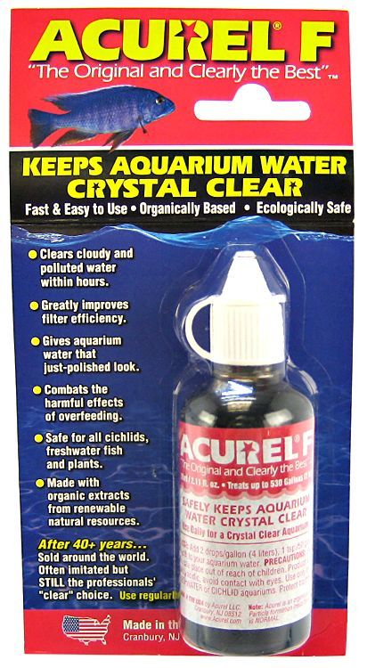 Acurel acurel f aquarium clarifier water conditioners for Cloudy fish tank water in established tank