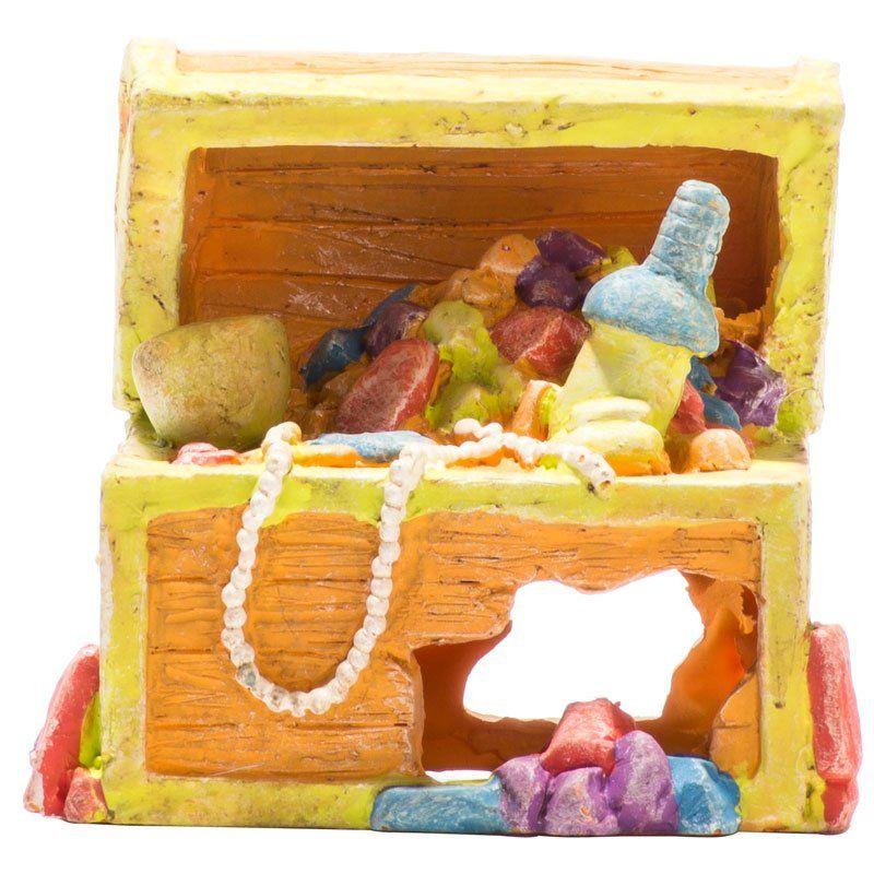 Glofish glofish treasure chest aquarium ornament ornaments for Aquarium decoration sealant
