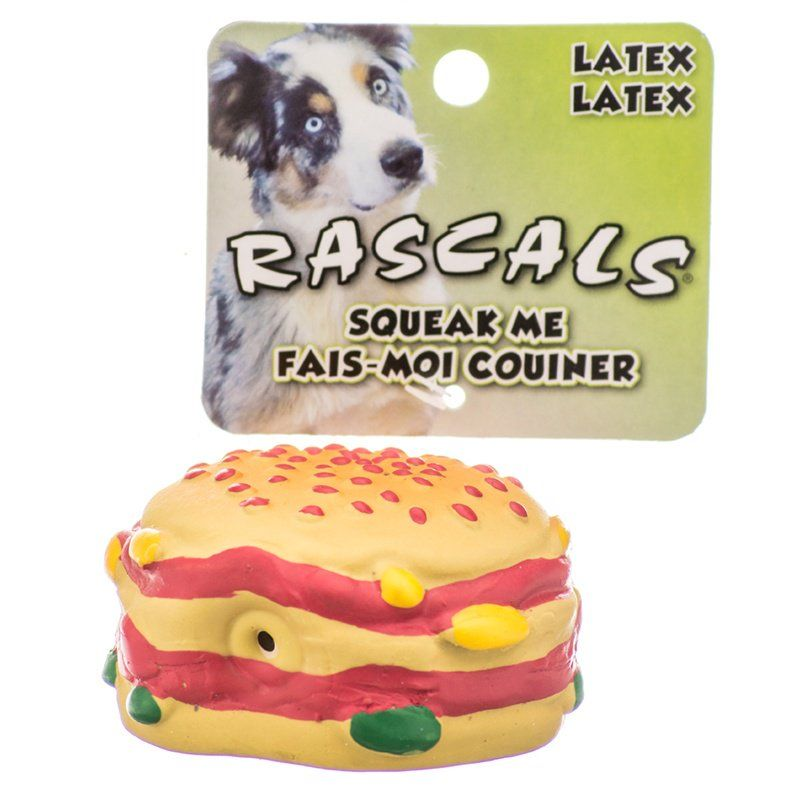 Coastal Pet Rascals Latex Hamburger Dog Toy Toys Latex