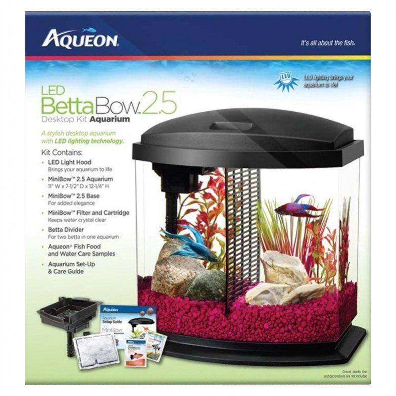 Aqueon aqueon led betta bow desktop aquarium kit black for 55 gallon fish tank led light hood