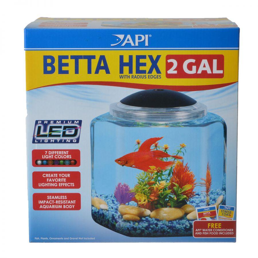 Api api betta hex aquarium kit glass acrylic aquariums for Betta fish tank kit