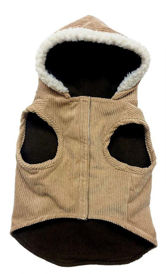 Fashion Pet Outdoor Dog Toggle Corduroy Dog Coat Camel