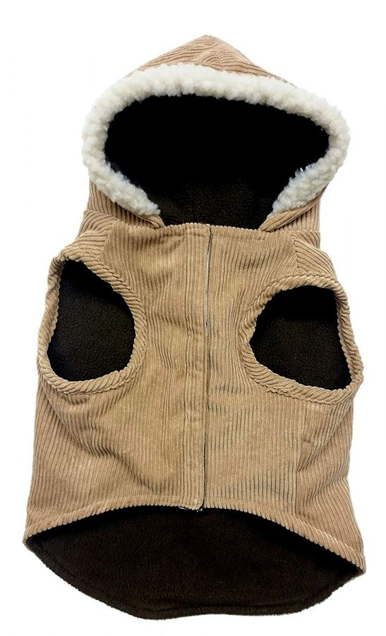 Fashion Pet Outdoor Dog Toggle Corduroy Dog Coat Camel
