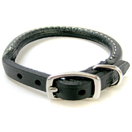 Circle T Leather Circle T Pet Leather Round Collar - Black