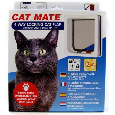 Cat Mate Cat Mate Self Lining 4-Way Lockable Cat Door White