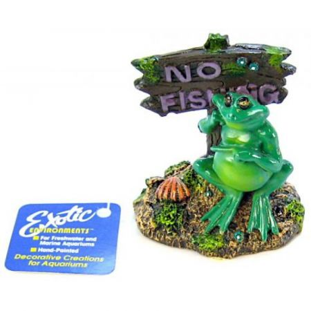 Blue Ribbon Pet Products Blue Ribbon Pot Belly Frog No Fishing Sign Ornament