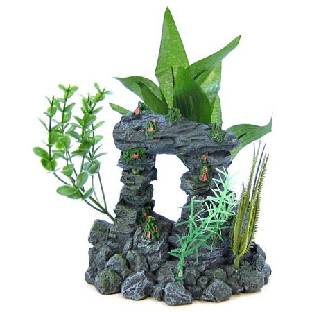 Blue Ribbon Rock Arch with Plants Ornament alternate view 2