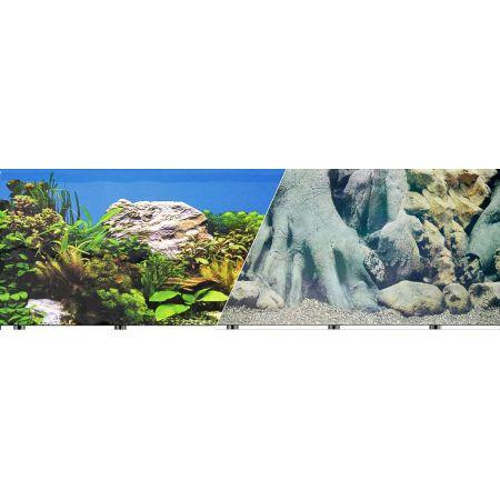 Blue Ribbon Freshwater Rock & Tree Trunks Double Sided Aquarium Background