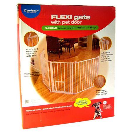 Carlson Pet Gates Carlson Pet Gates Flexi Walk Thru Gate with Pet Door - White