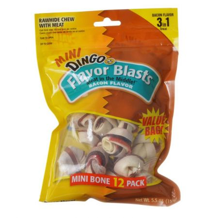 Dingo Dingo Flavor Blasts Rawhide & Meat Chew - Bacon Flavor