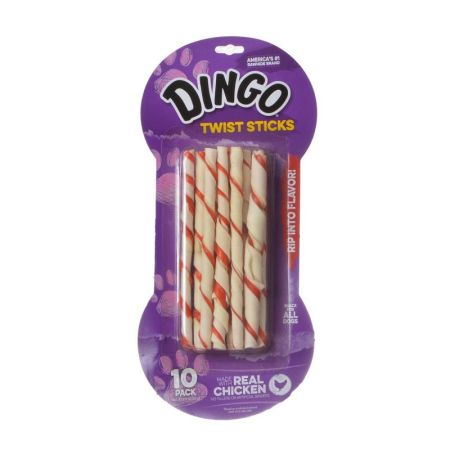 Dingo Dingo Twist Sticks Rawhide Chew with Chicken in the Middle