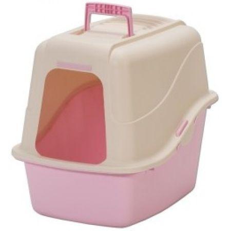 Petmate Petmate Basic Hooded Litter Pan Set - Creme & Pink