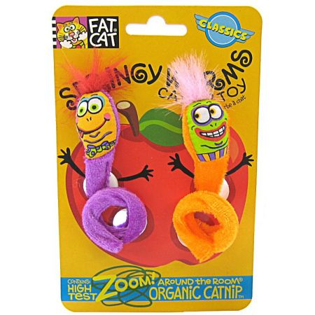 Fat Cat Fat Cat Springy Worm Catnip Toy - Assorted