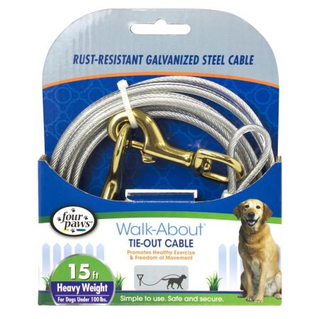 Four Paws Dog Tie Out Cable - Heavy Weight - Black alternate view 2