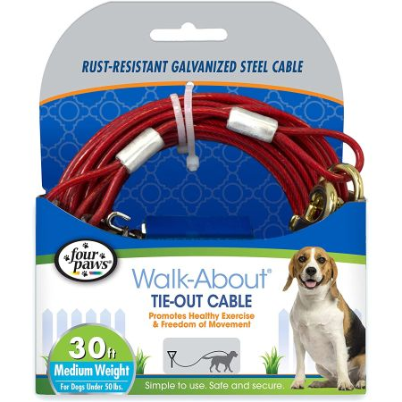 Four Paws Dog Tie Out Cable - Medium Weight - Red alternate view 2