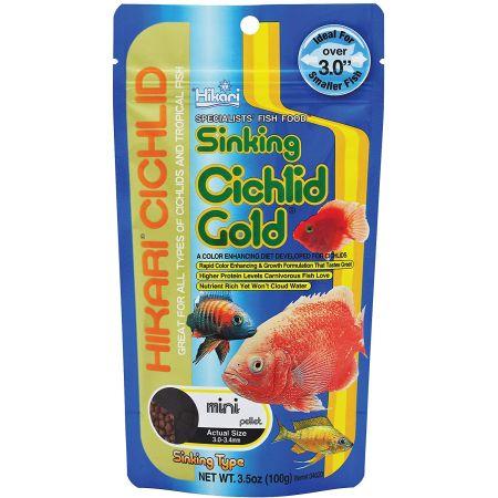 Hikari Cichlid Gold Color Enhancing Sinking Fish Food - Mini Pellet