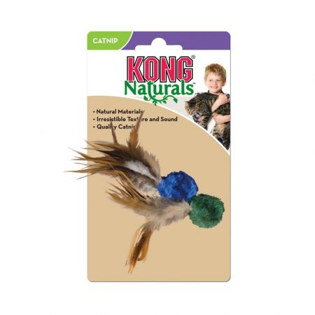 Kong Kong Crinkle Ball with Feathers Cat Toy