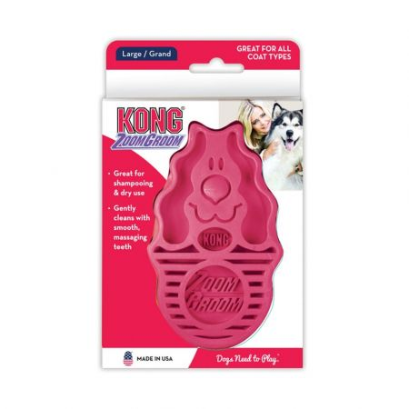 Kong ZoomGroom Dog Brush - Raspberry alternate view 2