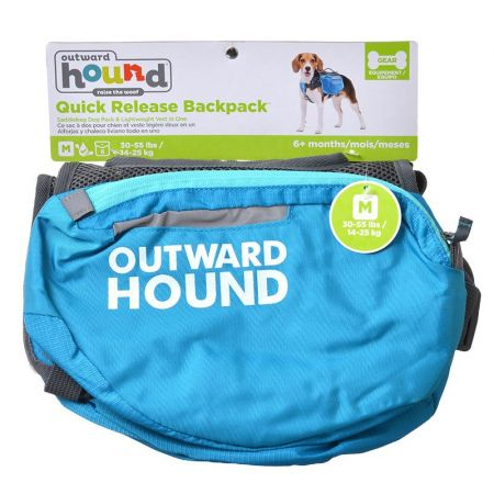 Outward Hound Outward Hound Quick Release Dog Backpack - Blue & Black