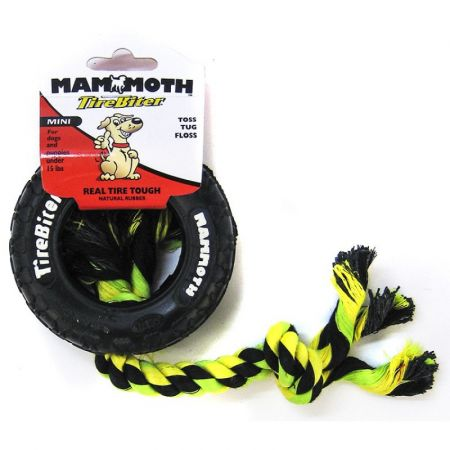 Mammoth Mammoth Tire Biter Dog Chew Toy w/ Colored Flossy Rope