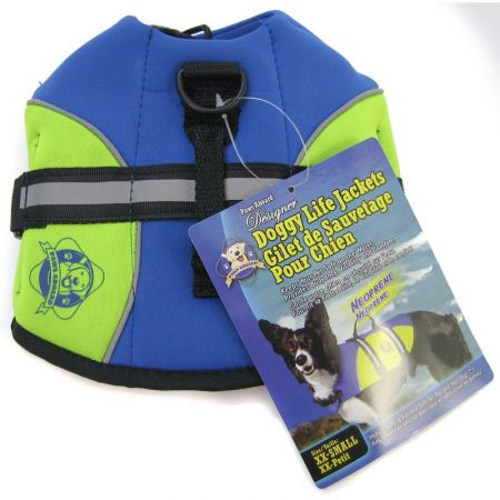 Paws Aboard Paws Aboard Neoprene Designer Doggy Life Jacket - Blue & Green