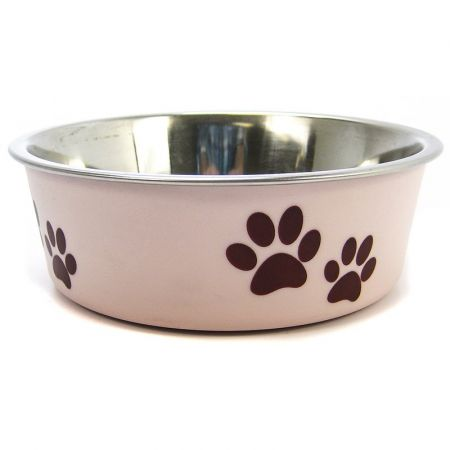 Loving Pets Loving Pets Stainless Steel & Light Pink Dish with Rubber Base