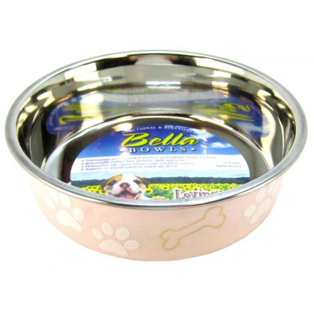 Loving Pets Stainless Steel & Light Pink Dish with Rubber Base alternate view 2
