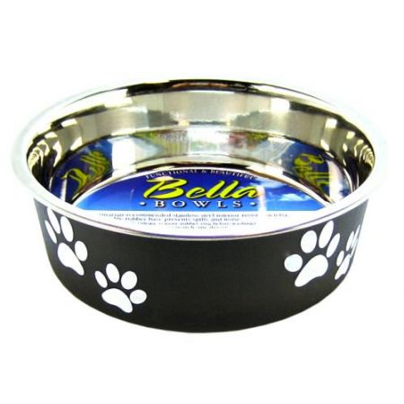 Loving Pets Loving Pets Stainless Steel & Espresso Dish with Rubber Base