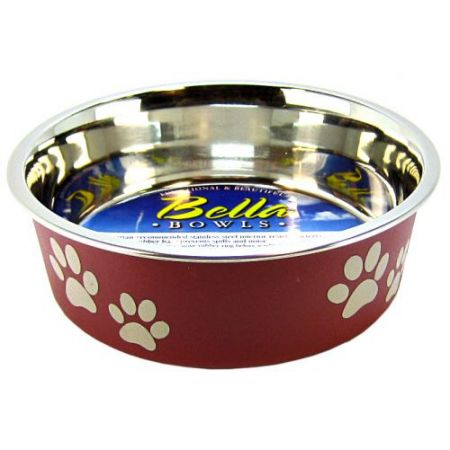 Loving Pets Stainless Steel & Merlot Dish with Rubber Base alternate view 1