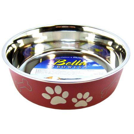 Loving Pets Stainless Steel & Merlot Dish with Rubber Base alternate view 2