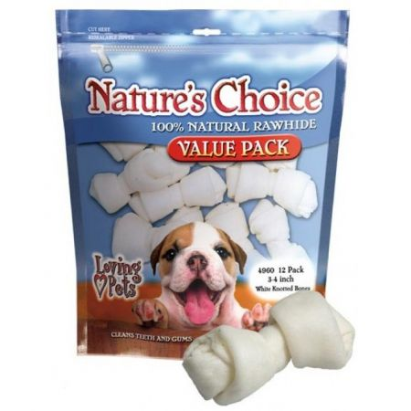 Loving Pets Loving Pets Nature's Choice 100% Natural Rawhide Knotted Bones Value Pack