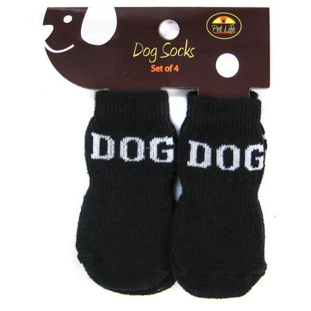 Pet Life Pet Life Dog Socks with Rubber Sole Paw Grips - Black & White