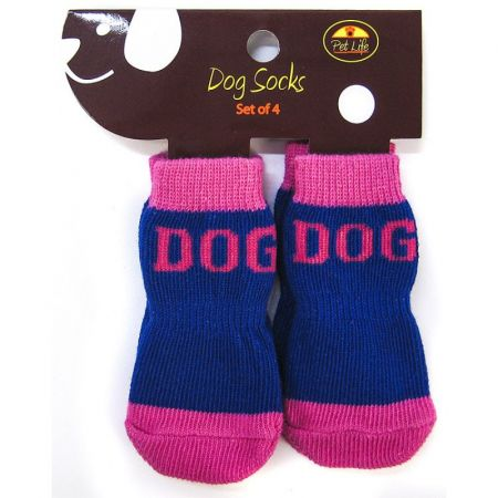 Pet Life Pet Life Dog Socks with Rubber Sole Paw Grips - Pink & Blue