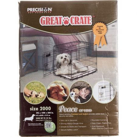 Precision Pet Precision Pet Great Crate Folding Crate - 2 Door Crate (Front & Top Doors) Black