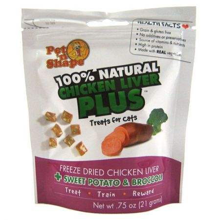 Pet 'n Shape Pet 'n Shape 100% Natural Freeze Dried Chicken Liver with Sweet Potato & Broccoli - Cat Treats