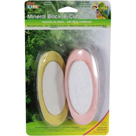 Penn Plax Penn Plax 2-in-1 Mineral Block Cuttlebone - Banana & Berry Flavors