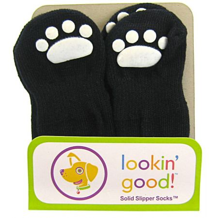 Fashion Pet Fashion Pet Slipper Dog Socks - Black with White Paw Print