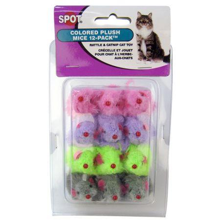 Spot Colored Fur Mice Cat Toys