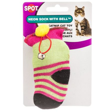 Spot Spot Spotnips Yellow Sock with Catnip & Bell