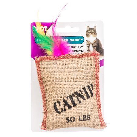 Spot Spot Jute & Feather Sack with Catnip Cat Toy