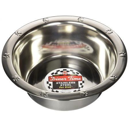Spot Stainless Steel Embossed Rim Pet Dish alternate view 2