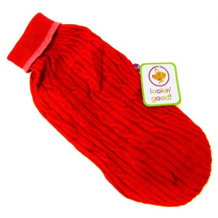 Fashion Pet Cable Knit Dog Sweater - Red alternate view 3