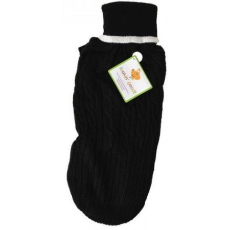 Fashion Pet Cable Knit Dog Sweater - Black alternate view 3