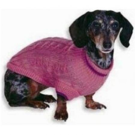 Fashion Pet Cable Knit Dog Sweater - Pink alternate view 1