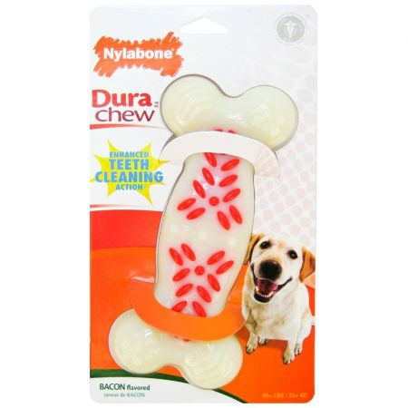 Nylabone Nylabone Dura Chew White & Red Dog Bone - Bacon Flavor
