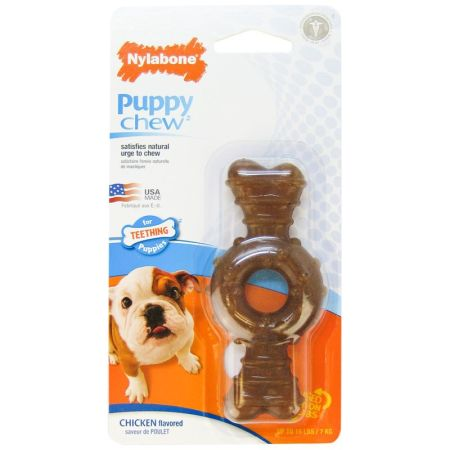 Nylabone Nylabone Puppy Chew Textured Ring & Bone - Chicken Flavor