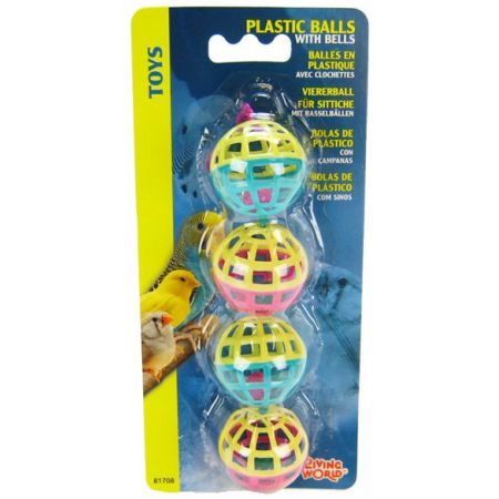 Living World Plastic Balls with Bells Bird Toy