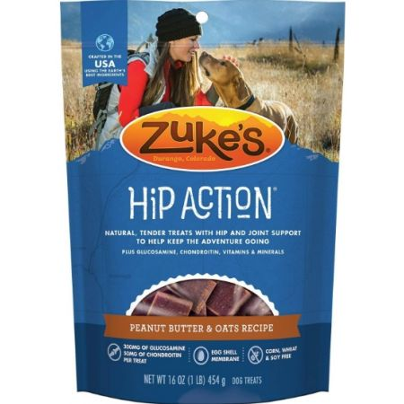 Zukes Zukes Hip Action Hip & Joint Supplement Dog Treat - Fresh Peanut Butter Formula